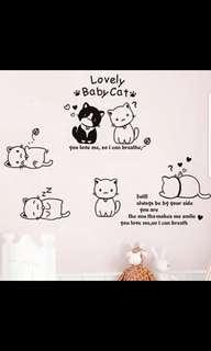 Cartoon cute cat wall stickers girl bedroom bedroom room wall decoration sticker Nordic wind stickers self-adhesive ⭕Size see last picture *CM