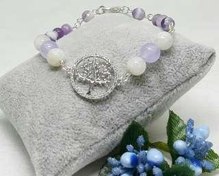 Pretty Purple & White Handmade Bracelet