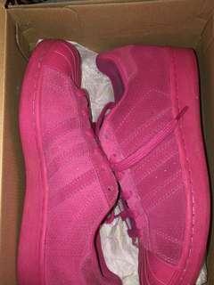 Adidas pink suede sneakers