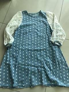 Polka dot light denim dress