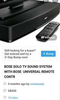 BOSE SOLO TV SOUND SYSTEM WITH UNIVERSAL BOSE REMOTE