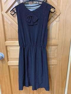 🚚 復古 圓點 深藍 洋裝 裙子