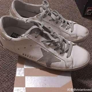 Golden Goose white&silver superstar sneakers