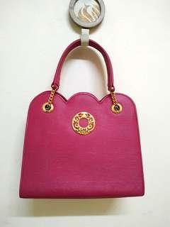 Authentic Hanae Mori Dark Pink Textured Scallop Handbag