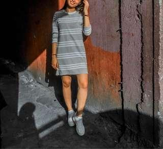 Gray-White Striped Round Neck Longsleeve Cotton Dress
