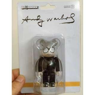 Bearbrick 100% Andy Warhol glasses white hair