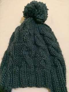 Dark Gray Knit Bonnet with Pom Pom