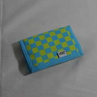 VANS SLIPPED WALLET (CHECKERED IN BLUE & LIME GREEN)