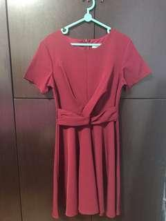 Twisted Knot Dress in maroon red colour