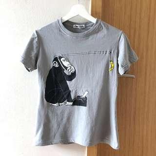 🚚 100% Cotton Women's T-shirt Pondering Monkey