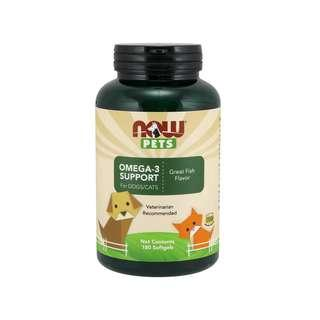🚚 Now Foods, Pets, Omega-3 Support for Dogs/Cats, Great Fish Flavor, 180 Softgels