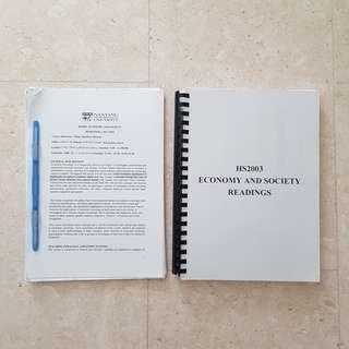 NTU HS2003 Economy and Society Resources
