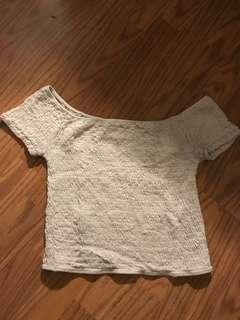 Cream, ribbed crop top (one size)