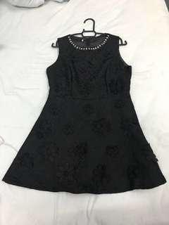 Black floral mark dress