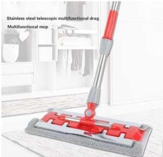 Flat Mop Steel Clip Flat Mop Stainless Steel Telescopic Multi-Function Mop Multi-Function Mop