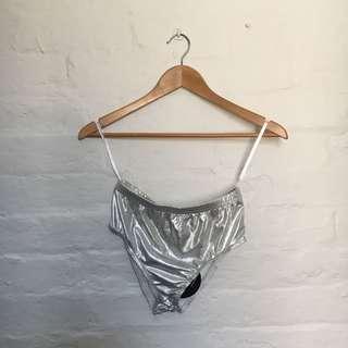 Shiny Silver Disco Panties   Mid-High Waisted