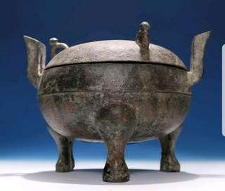 Valuable Archaic Chinese Han Dynasty Ritual Bronze Tripod Vessel Ding. Rare