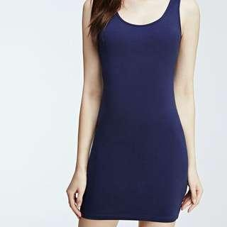 blue bodycon tank dress
