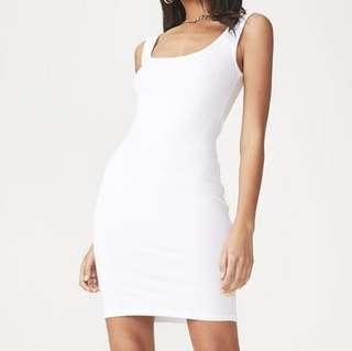 white bodycon tank dress