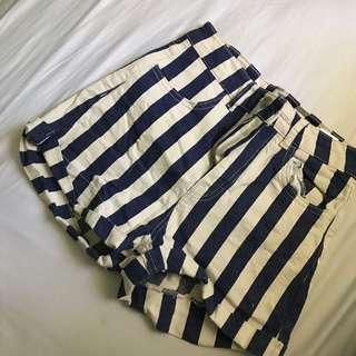 blue and white stripe denim shorts