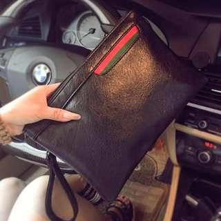 Aston Leather Motif Zipper Bag