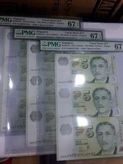 $5-UNCUT 3IN1.(3SETS RUNNING NOS.) ALL PMG67EPQ.ONLY 500 SETS ISSUED.