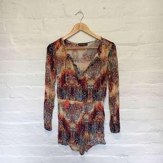 Colourful Long Sleeved Playsuit   Size 10