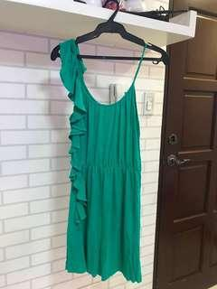 Mango Green Spag strapped Dress with Raffles
