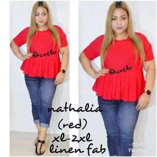 New! 6 colors! Sale!! Nathalia Peplum Top (FS: Loose style, fits XL - 2XL; fits 31 - 35 w)