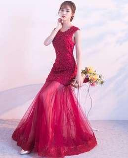 Red Shinning Diamond Gown