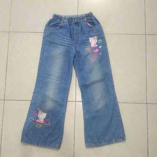 Celana Panjang Jeans Denim Biru Anak Perempuan Hello Kitty Bekas Second Murah Pinggang Karet