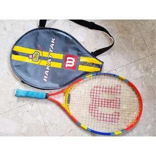 "Wilson Kids Rakattak L000 3 5/8""  W/ Cover Tennis Racquet Racket  Shoulder Strap Neon Orange Blue Yellow"