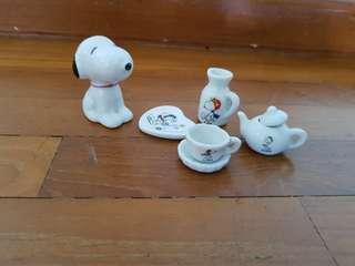 Snoopy collectables porcelain figurine and tea set