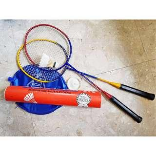 Stats Badminton Set 2 Racquet Xpro Bs509 With Cover Tempered Steel and 12 Ashaway Feather Shuttlecocks Racket