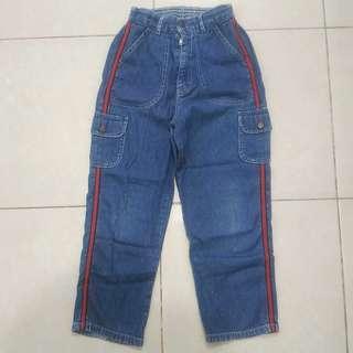 Celana Panjang Jeans Denim Anak Perempuan Biru Lis Merah Bekas Second Murah Nevada Kids