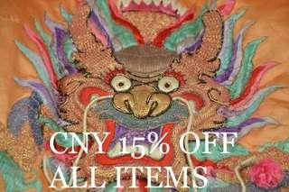 CNY 15% OFF EVERYTHING FROM 25th JAN 2019 - 7 FEB 2019!!!