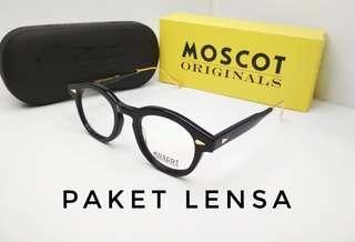 Paket lensa anti radiasi frame kacamata moscot tt