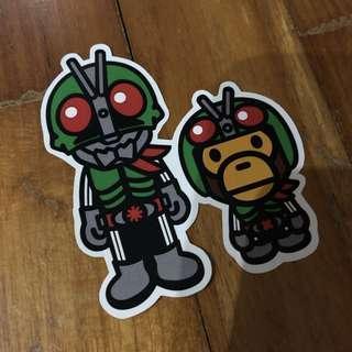 Pop Culture Luggage Laptop Misc Sticker Bape Bathing Ape Japanese Masked Kamen Rider Collaboration Fashion