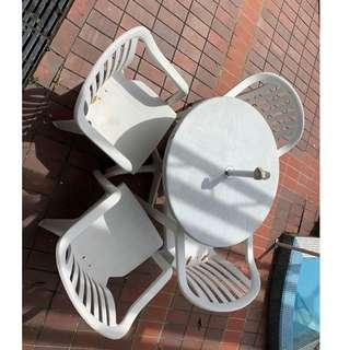 Outdoor White Table and Chair set
