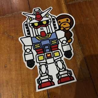 Pop Culture Luggage Laptop Misc Sticker Bape Bathing Ape Japanese Anime Gundam RX-78 Mobile Suit Collaboration Fashion