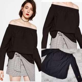Auth💯 Zara Off-Shoulder Poplin ( Retails at 1,700)