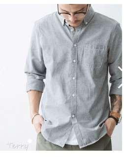 牛津布。長袖襯衫