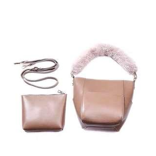 Beige Furry Tote Bag