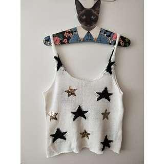 Myer Miss Shop White Knit with Black & Gold Sequin Stars Singlet Top Sz 10
