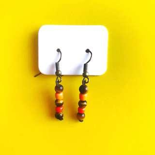Beaded Earrings 'Tiger' with Tigers Eye