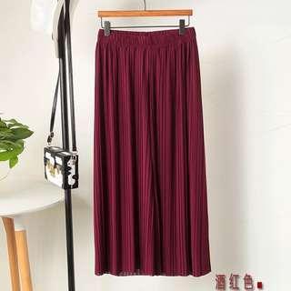 BN Burgundy Wine Culottes Wide Leg Pants CNY