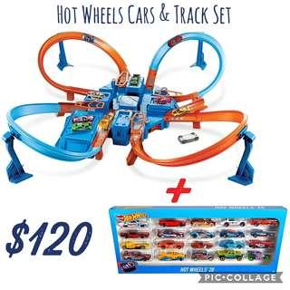 *Brand New* Hot Wheels Criss Cross Crash Track Set + Hot Wheels 20 Toy Car Gift Pack (Best Gift for Holiday, Birthday and Christmas)