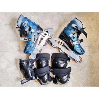 Rollerblades Skate Model A (M) Adjustable 33-36cm and Hands Knee Elbow Pads Blue Black Women Boys Girls