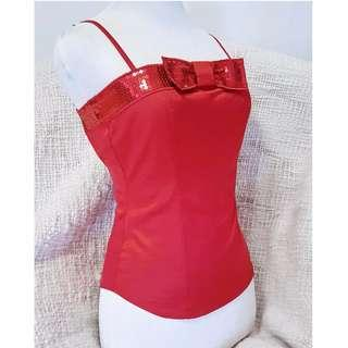 Moschino made in Italy Halter Top Spaghetti Straps Red CNY Sequins Front Bow SZ 6 for party #christmas #newyear #partywear
