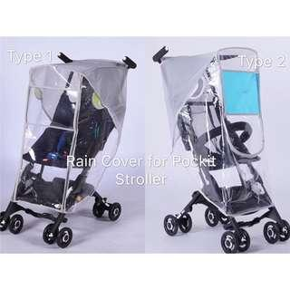 Ready Stock ! Brand New Rain Cover/Weather Shield/Canopy for GB Pockit, Pockit Plus, GB Qbit+ Baby Stroller (U-Shaped Window or Double Zipper)
